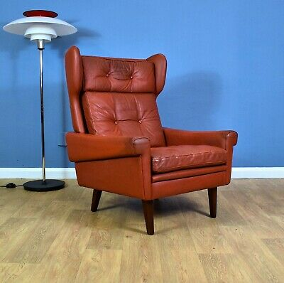 Mid Century Danish Skippers Møbler Red Leather Wingback Lounge Arm Chair 1970s