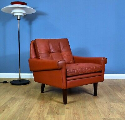 Mid Century Retro Danish Skippers Møbler Red Leather Lounge Arm Chair 1970s