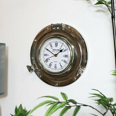 Round silver metal porthole nautical style wall clock retro industrial home gift