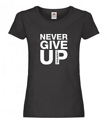 Mo Salah Liverpool Never Give Up Womens T-Shirt Sizes 8-18 Football Unofficial
