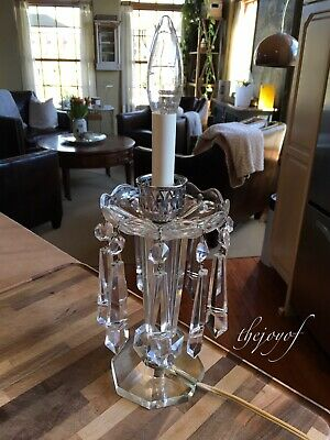 "Vintage Crystal Table Candelabra Electric Lamp - 5"" Hanging Crystals Stunning!"