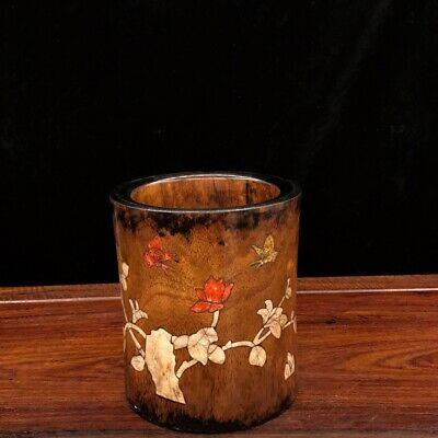 """6"""" Chinese old antique huanghuali wood Mosaic shells flowers Butterfly pen pot"""