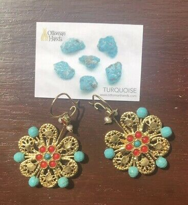 Ottoman Hands 21CT gold plated brass earrings with turquoise & agate stones £45