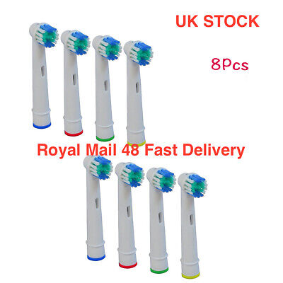8Pcs Replacement heads Toothbrush for Oral B Braun Models Floss Action Pro white