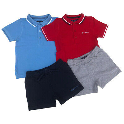 Ben Sherman Boys Polo T-Shirt and Shorts Set Red or Blue12M / 18M / 24M / 36M