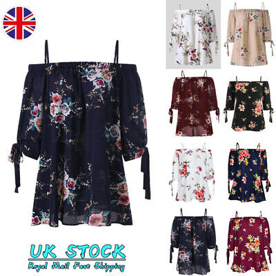 Plus Size Womens Floral Off Shoulder Tops Blouse Ladies Summer Casual Tee 20-28