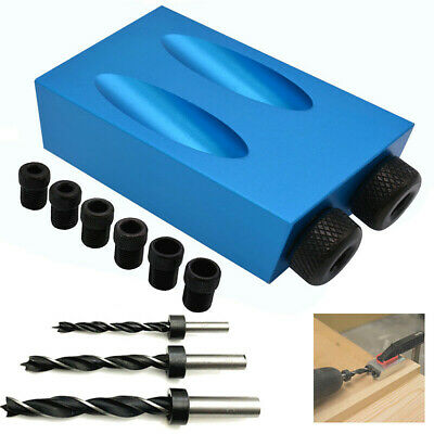 1 Set 15°Angle Pocket Hole Screw Jig with Dowel Drill Carpenters Wood Joint Tool