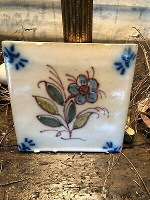 Vintage Handpainted Tile, Blue Corner Design Flower Middle Design, Mark