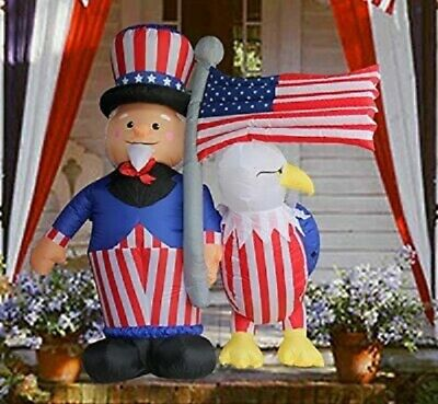 6 Foot Patriotic Airblown Inflatable Uncle Sam, Flag & Eagle 4th of July Yard