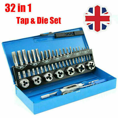 32pcs Metric Wrench Tap And Die Set Cuts M3-M12 Bolts Engineers Kit W/ Hard Box