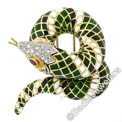 Jewelry & Watches Watches, Parts & Accessories Vintage 18k Oro 2.64ctw Diamante Verde & Blu Smalto Aperto Bracciale Rigido