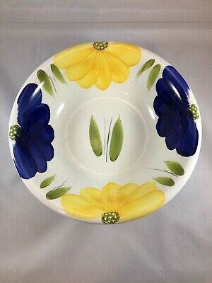 """La Primula Maxam Yellow & Blue Floral  Motif Hand Painted Italy 10"""" Bowl * (WD)"""