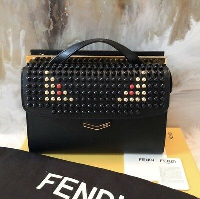 34ab5ecf0c8 RARE FENDI DEMI Jour Black Saffiano Leather Studded Monster Bag ...