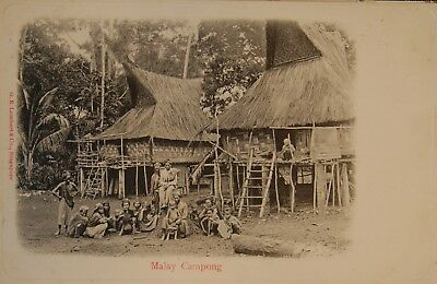 Carte Postale Ancienne Singapour (Singapore) Malay Campong
