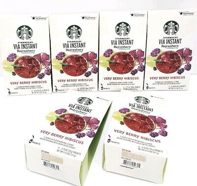 Starbucks Via Instant Refreshers Very Berry Hibiscus 6 Boxes 36