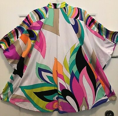 064e961eac NWT Trina Turk Psychedelic Kimono Wrap Lounge Luxury Swim Cover Bathing Suit  M