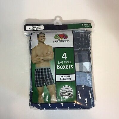 Fruit Of The Loom Tag Free Boxers Mens 3XL Pack Of 4 Blue Navy Fox Print Cotton