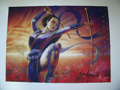 L5R Play Mat (Mirumoto Masae) Signed Steve Argyle Legend of the Five Rings