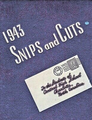 """1943 """"Snips and Cuts"""" - Central High School Yearbook - Charlotte NC NAMES LISTED"""