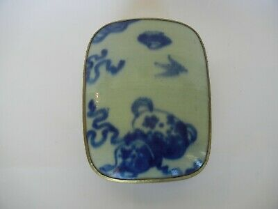 Antique Chinese Porcelain Shard in Silver Plated Box Painted Scholar Gourd