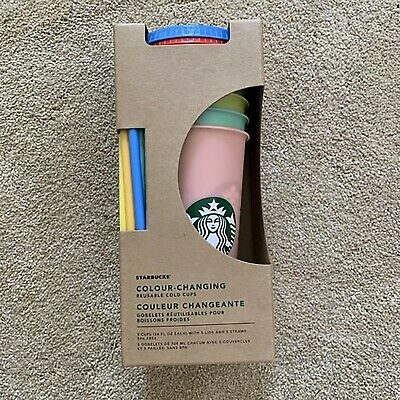 Starbucks Reusable 5 Cups Color Changing Cups Cold Set New Rare Summer 2019