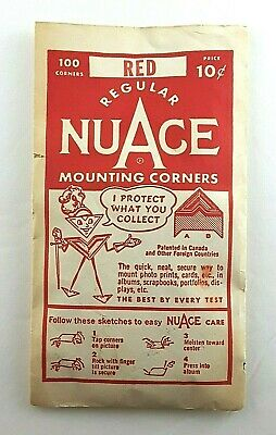 Vintage NuAce Mounting Corners 100 Count Pack Red Made U.S.A.