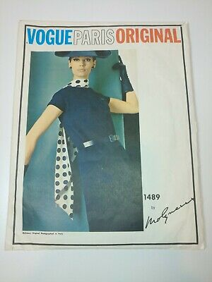VOGUE Paris Original 1489 Molyneux Designer One Piece w/ scarf Dress sz 14
