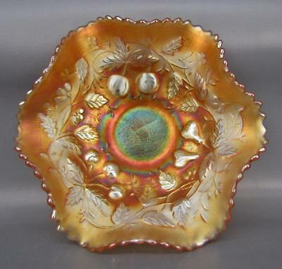 """Northwood FRUITS & FLOWERS Marigold Carnival Glass 6"""" Berry Bowl 6047"""