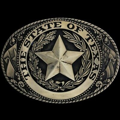 State Texas Seal Star Flag Tony Lama Pride Texan 80s Brass Vintage Belt Buckle