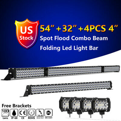 "54inch 3150W LED Light Bar+32""+4PC 4inch Work Pods Combo Offroad Fog VS 52/42/20"