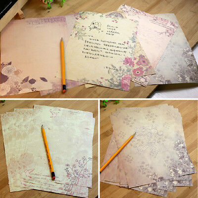 10Pcs/Set Vintage Flower Printing Writing Letter Paper DIY Stationery Random