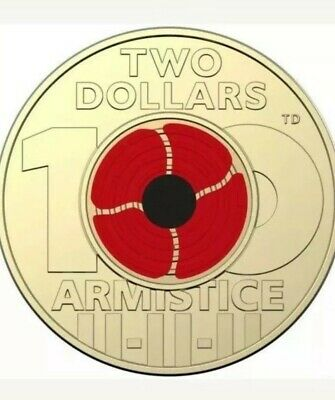 2018 $2 Dollar Coin - Remembrance Day - Red Poppy - Ex Ram Roll - Uncirculated