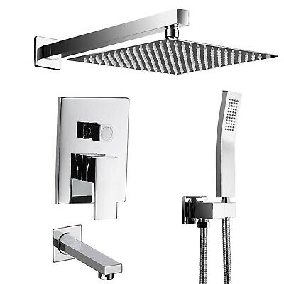8-inch Square Wall Mounted Shower Faucet Single Handle Tap Hand Shower Tub Set