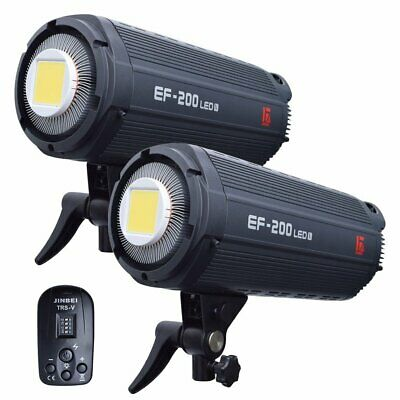 [2019 Ver] 2X Jinbei EF-200V 5500K Studio Video LED Light Lamp w/ TRS-V Remote