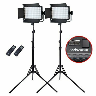 2X Godox LED500C 3300K-5600K 2900Lux LED Video Light Panel + 185cm Reverse Stand