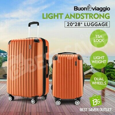 Luggage Suitcase Trolley Set TSA Lock Travel Carry On Bag Lightweight 2pc-Orange