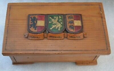 Vintage Carved Top Wood Jewelry Cigar Hinged Box Austria Austrian State Flags