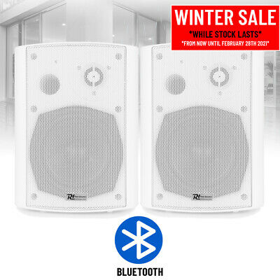 Wall Mount Bluetooth Speakers (Pair) Cafe Restaurant Outdoor Terrace Music WHITE