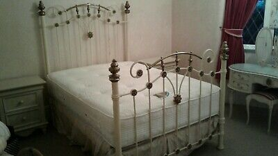 Orriginal metal and brass victorian double bed and mattress