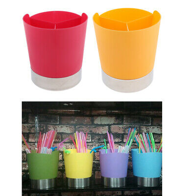 Straw Dispenser Bar Plastic Straw Holder 3Compartment Pink+Yellow//2Pack