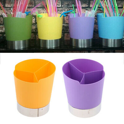 Straw Dispenser Bar Plastic Straw Holder 3Compartment Purple+Yellow//2Pack