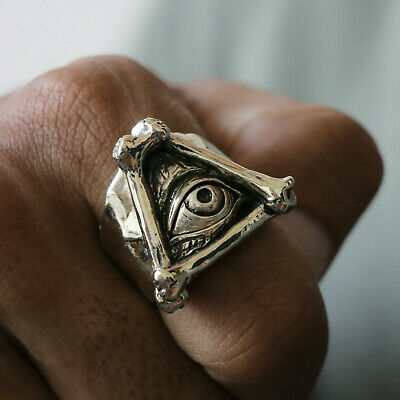 illuminati bone skeleton Biker Ring triangle Skull silver freemason masonic eye
