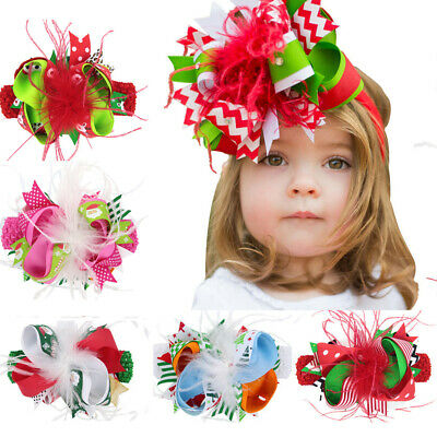 Infant Baby Girls Christmas Print Feather Elastic Headband Hair Clip Accessories