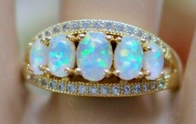 Vintage Jewellery Gold Ring Opals White Sapphire Antique Dress Jewelry Size R 9