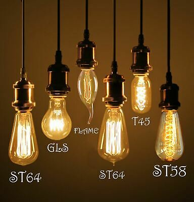 40W B22 Bayonet E27 Vintage Antique Retro Amber Light Filament Edison Lamp Bulb