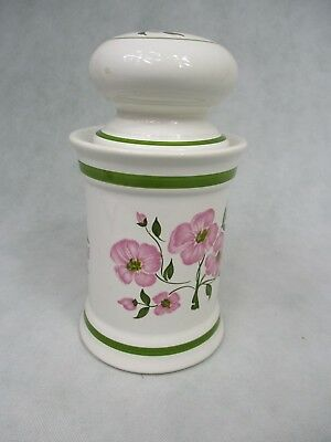 Storage Container White Pottery with Floral Design Made In Portugal by Sado