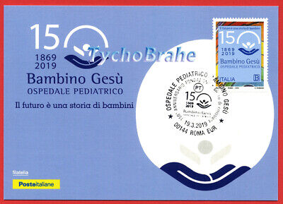 POSTCARD FDC 150° HOSPITAL BAMBIN GESÙ 2019 ITALY JOINT Vaticano First Day Cover