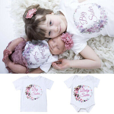 Little Sister Matching Kid Baby Girl Romper Outfit Big Sister Shirt Tops Clothes