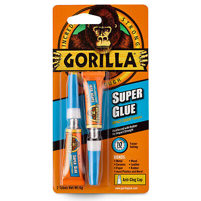 GORILLA SUPER GLUE 2x3G | The Tough, Fast Setting Super Glue | Anti-Clog Cap
