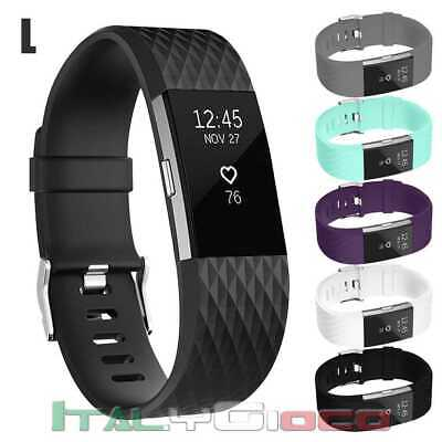 Band Replacement Wristband Strap TPU Silicone for Fitbit Charge 2 Black Size L